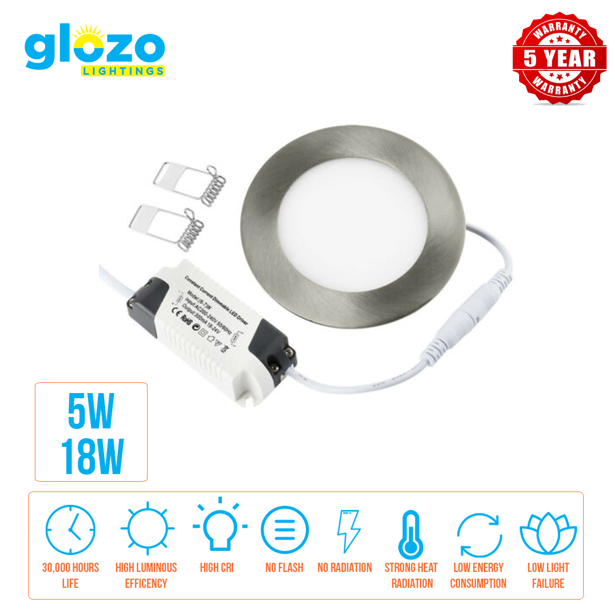 Round LED Panel Recessed Light Silver Frame 5W/18W