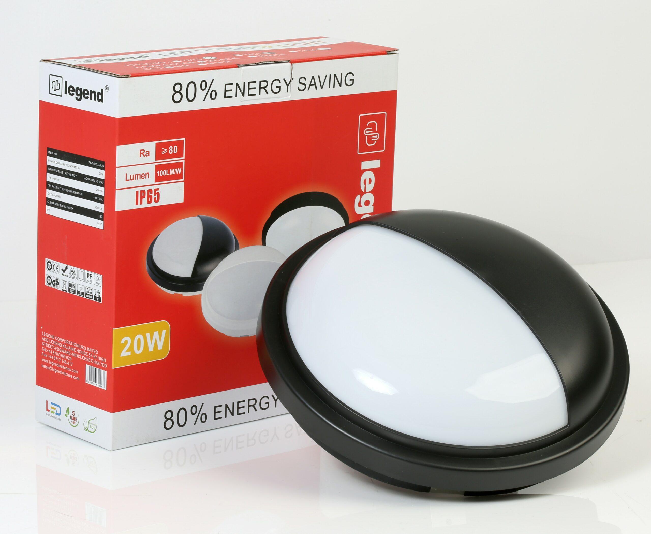 20W LED OUTDOOR BULKHEAD WATERPROO -7823-BK